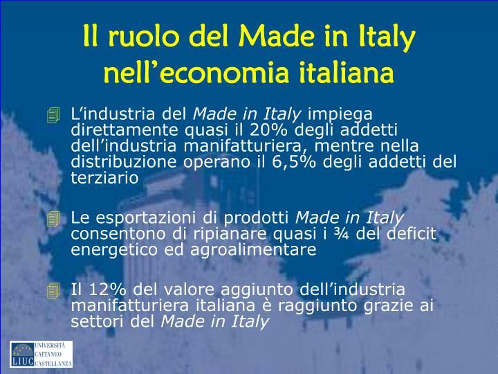 Il ruolo del Made in Italy nell'economia italiana