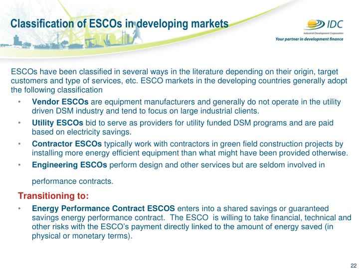 Classification of ESCOs in developing markets