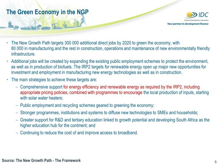 The Green Economy in the NGP