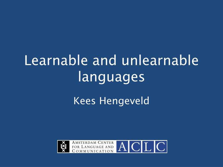 learnable and unlearnable languages n.