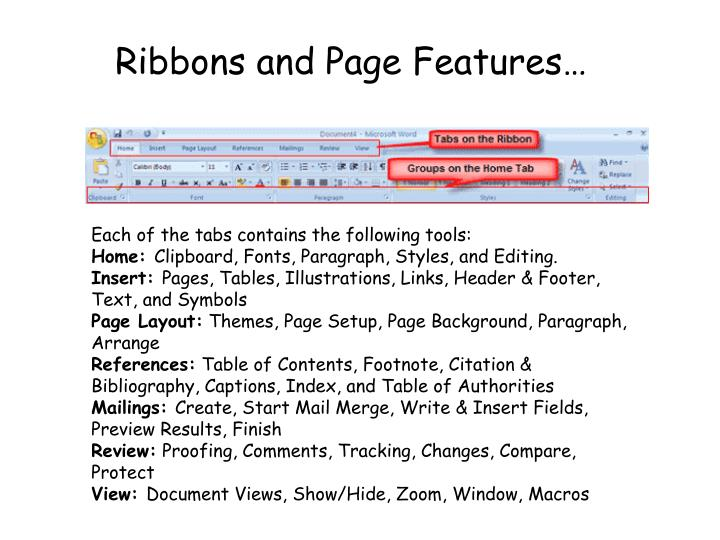 Ribbons and Page Features…