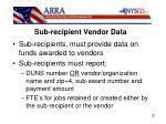 sub recipient vendor data1