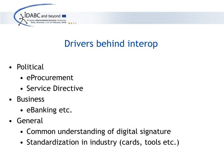 Drivers behind interop