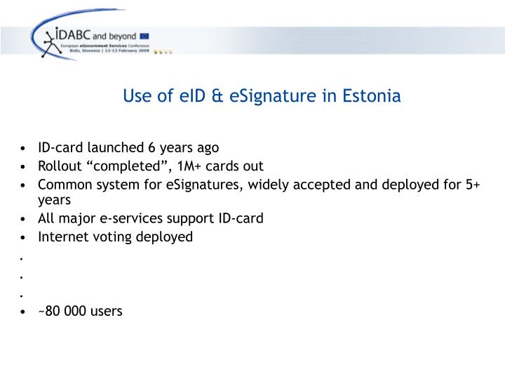 Use of eID & eSignature in Estonia