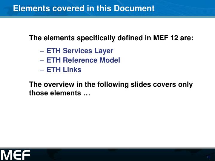 Elements covered in this Document