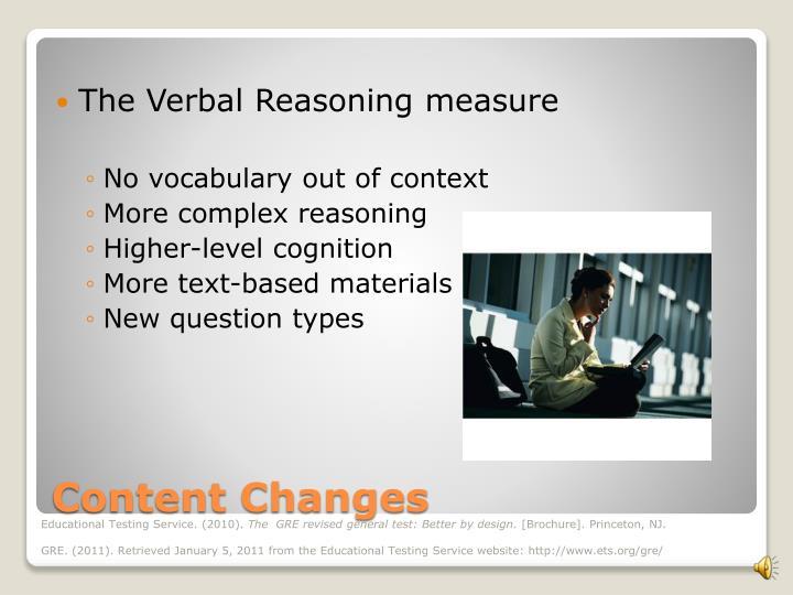 The Verbal Reasoning measure
