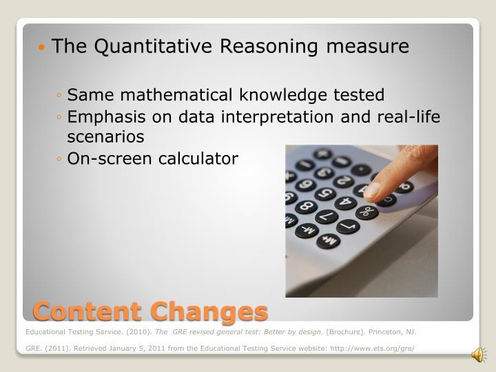 The Quantitative Reasoning measure