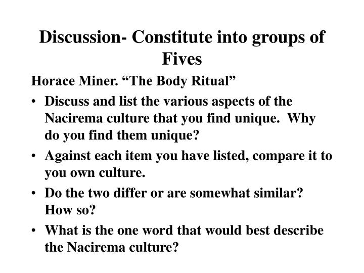 discussion constitute into groups of fives n.