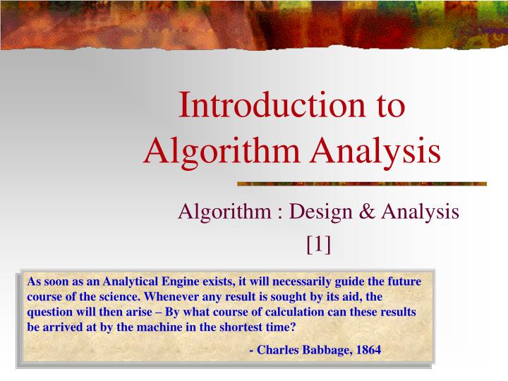introduction to algorithm analysis n.
