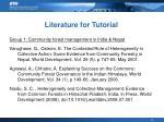 literature for tutorial