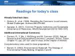 readings for today s class