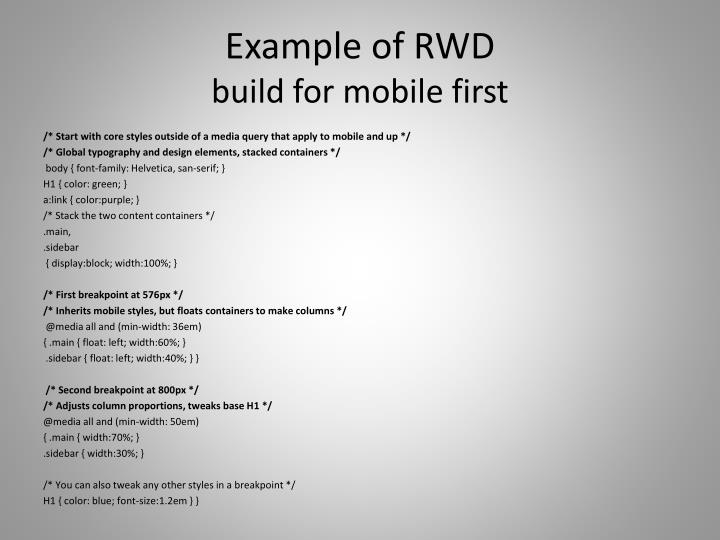 Example of RWD