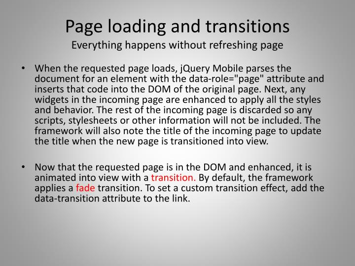 Page loading and transitions