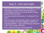 step 3 sort and label