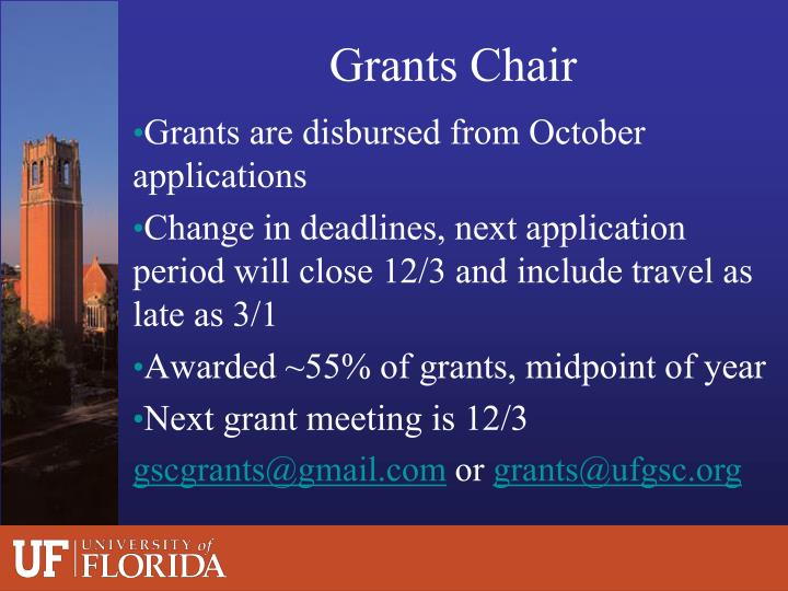 Grants are disbursed from October applications