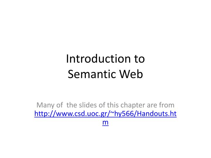 introduction to semantic web n.