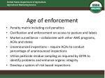 age of enforcement