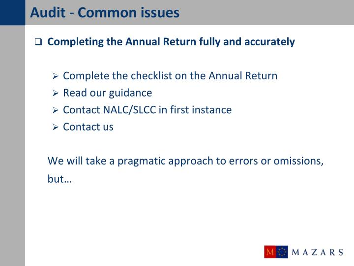 Audit - Common issues
