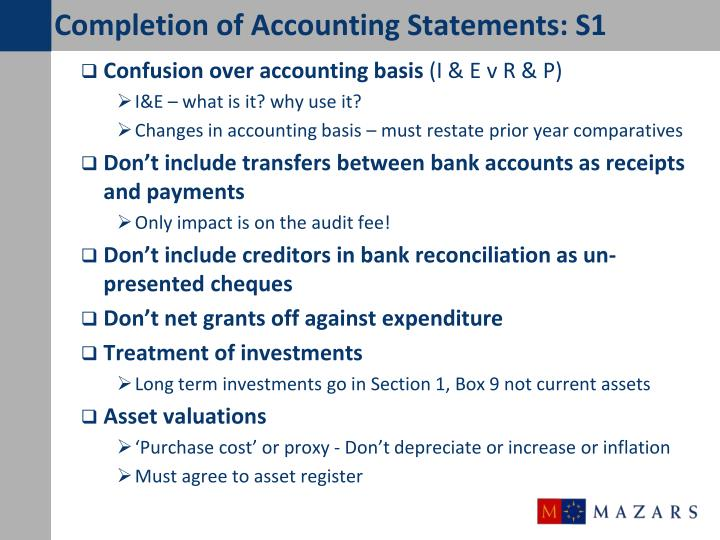 Completion of Accounting Statements: S1