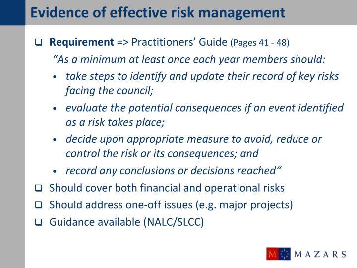 Evidence of effective risk management
