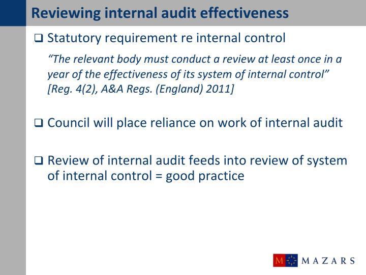 Reviewing internal audit effectiveness
