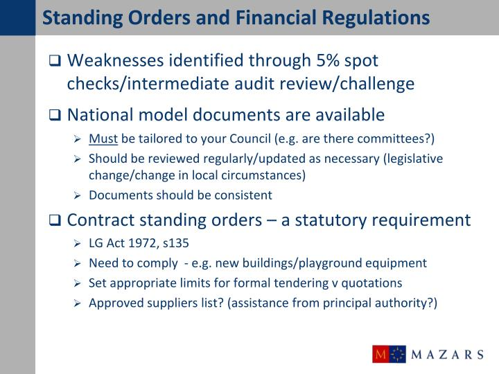 Standing Orders and Financial Regulations