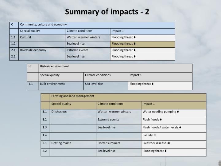 Summary of impacts - 2