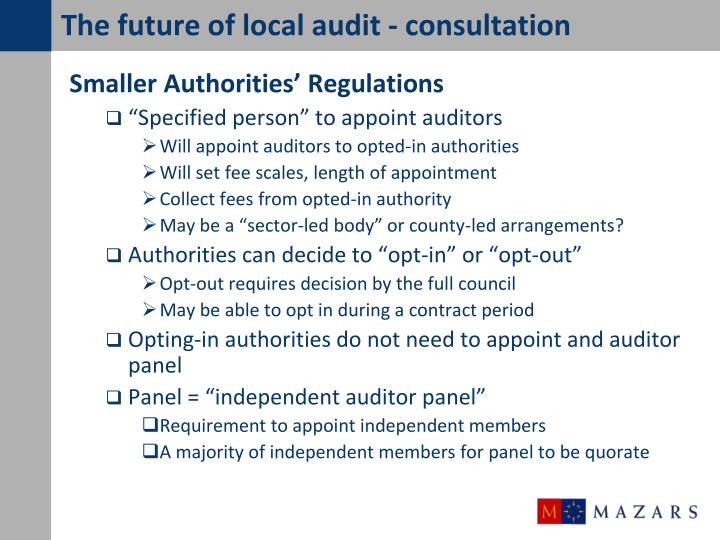 The future of local audit - consultation