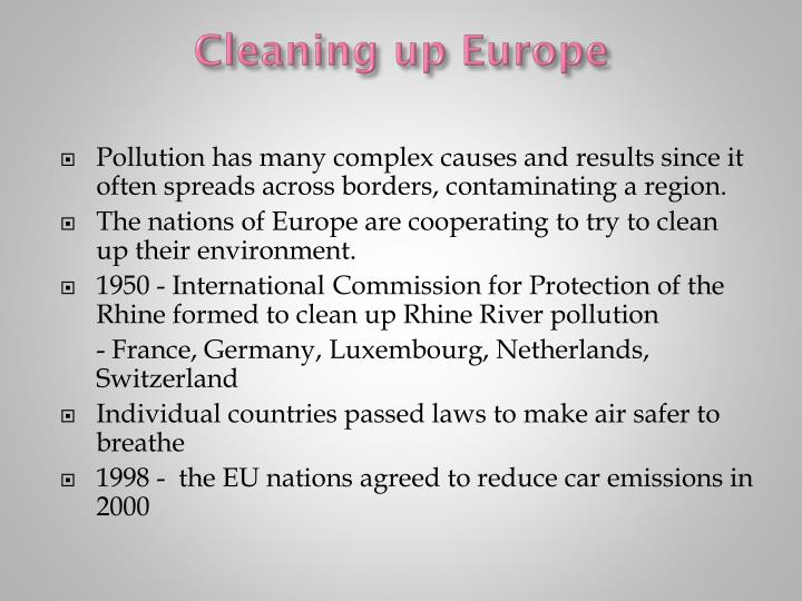 Cleaning up Europe