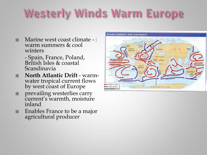 Westerly Winds Warm Europe