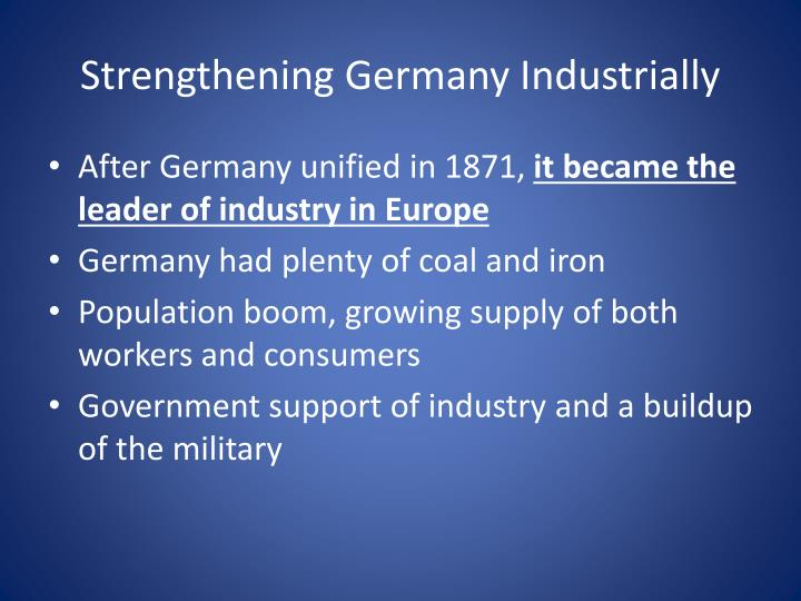 Strengthening Germany Industrially
