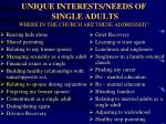 unique interests needs of single adults where in the church are these addressed