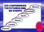 eva conferences the future in 2008 six events