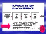 towards the 100 th eva conference