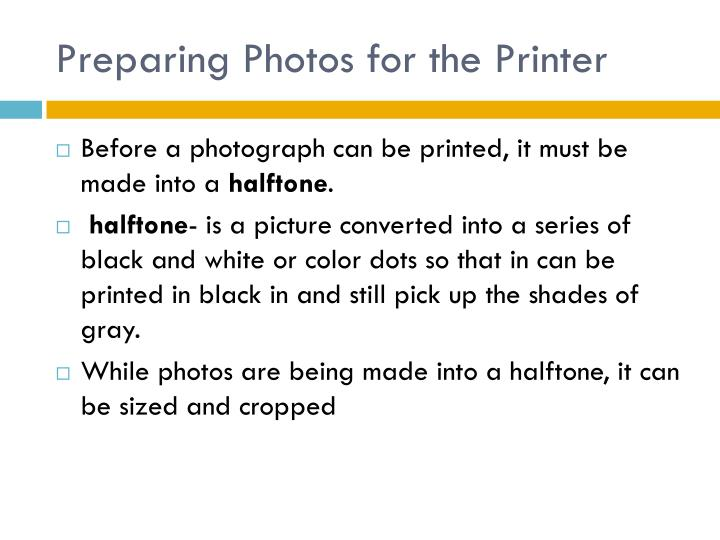 Preparing Photos for the Printer