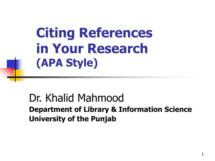 citing references in your research apa style n.