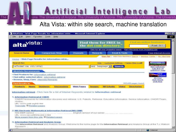 Alta Vista: within site search, machine translation