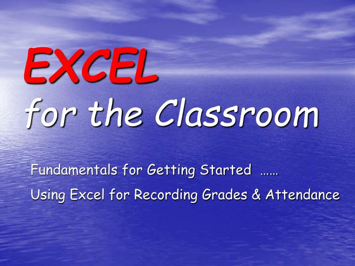 excel for the classroom n.