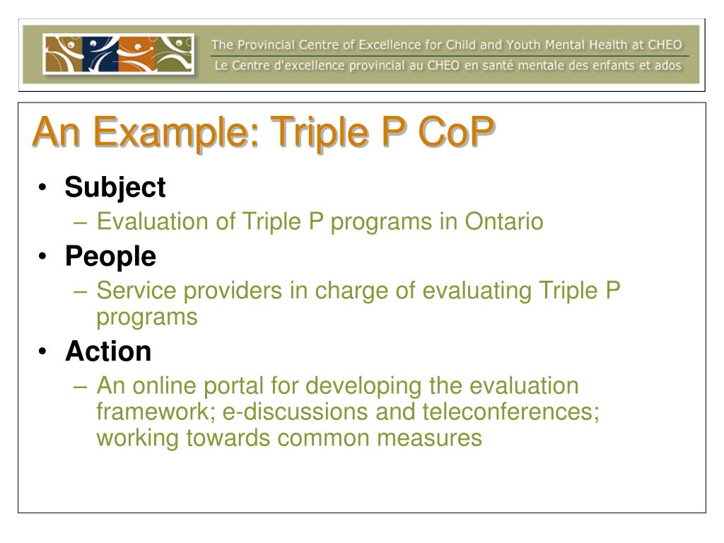 PPT - Evaluating Communities of Practice in Child and Youth