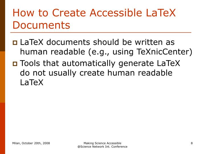 How to Create Accessible LaTeX Documents