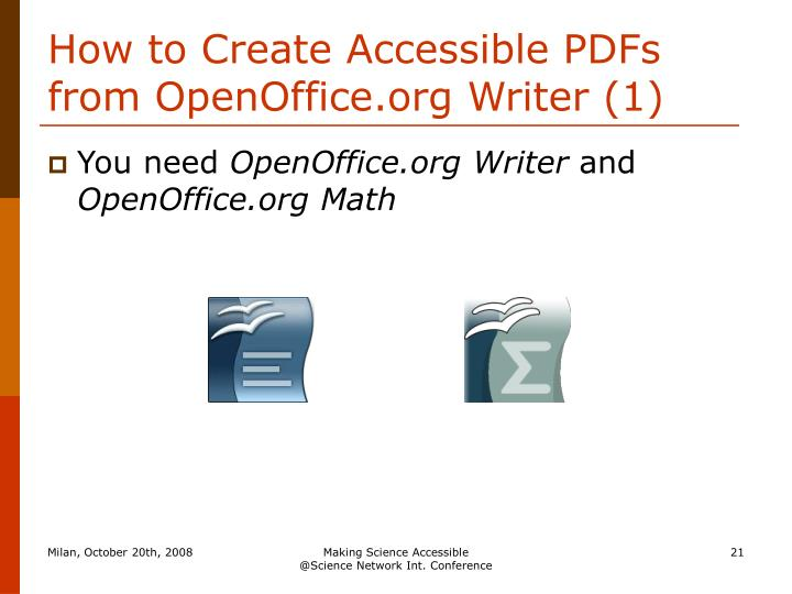 How to Create Accessible PDFs from OpenOffice.org Writer (1)