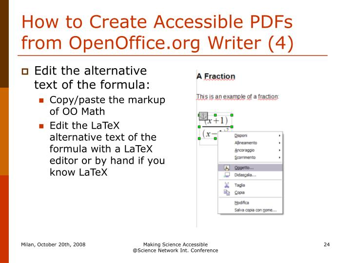 How to Create Accessible PDFs from OpenOffice.org Writer (4)