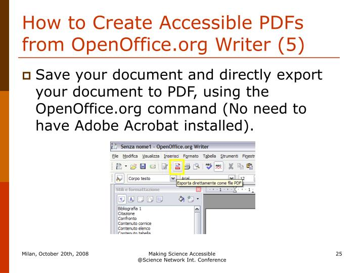 How to Create Accessible PDFs from OpenOffice.org Writer (5)