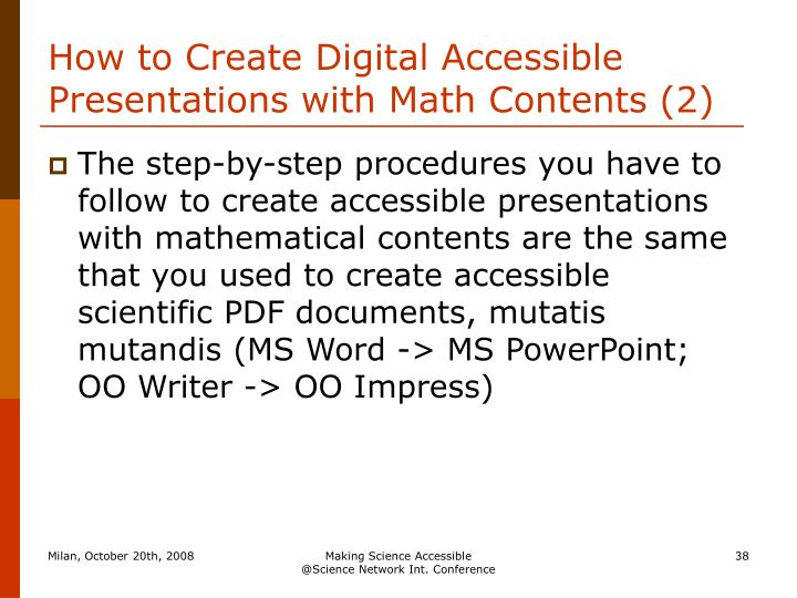 How to Create Digital Accessible Presentations with Math Contents (2)