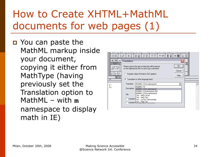 How to Create XHTML+MathML documents for web pages (1)