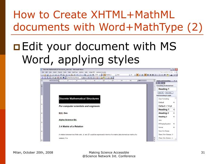 How to Create XHTML+MathML documents with Word+MathType (2)