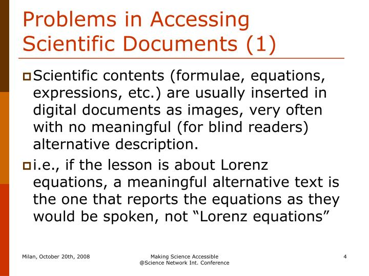Problems in Accessing Scientific Documents (1)