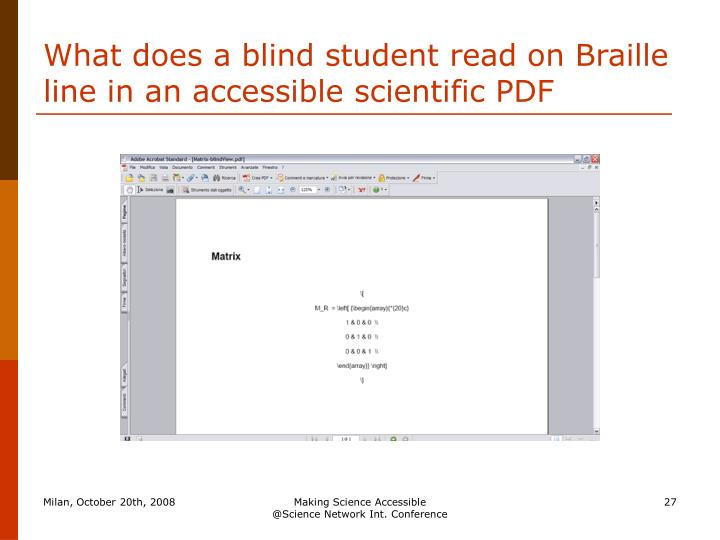 What does a blind student read on Braille line in an accessible scientific PDF
