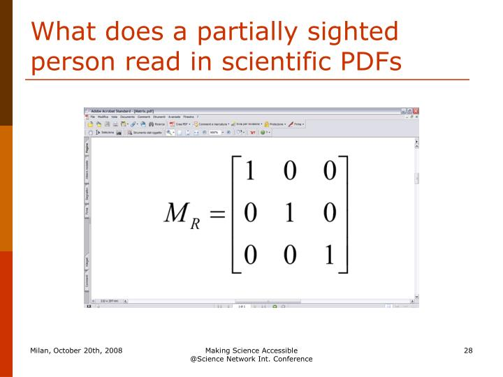 What does a partially sighted person read in scientific PDFs