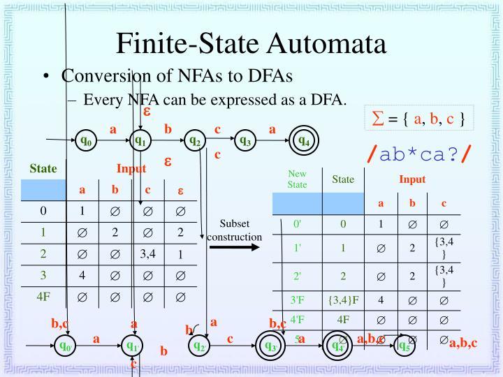 "finite automata and regular expression generator Regular expressions and finite state automata regular  automata describe:  the regular languages regular  formal grammars as language ""generators."